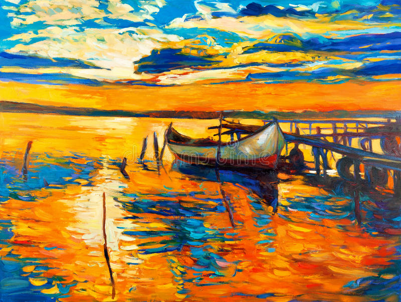 Oil painting. Original oil painting of boat and jetty(pier) on canvas. Sunset over ocean. Modern Impressionism