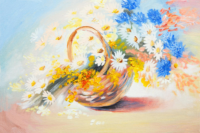 Oil painting - abstract bouquet of spring flowers royalty free illustration