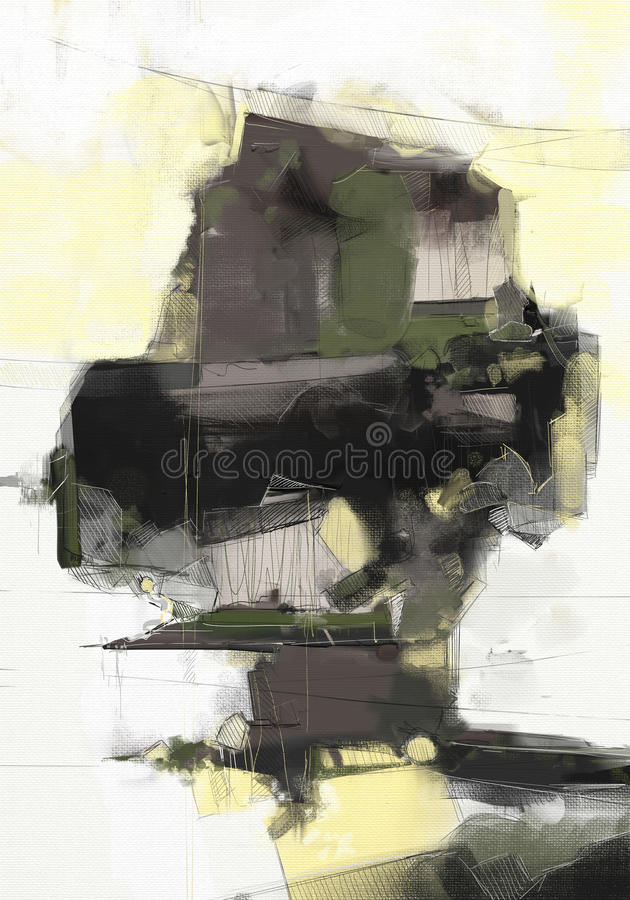 Oil painting abstract style artwork on canvas vector illustration