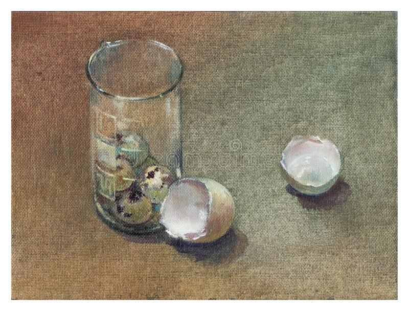 Oil painting. The apotheosis of food. Scraps. Shell quail eggs in a glass flask stock photography