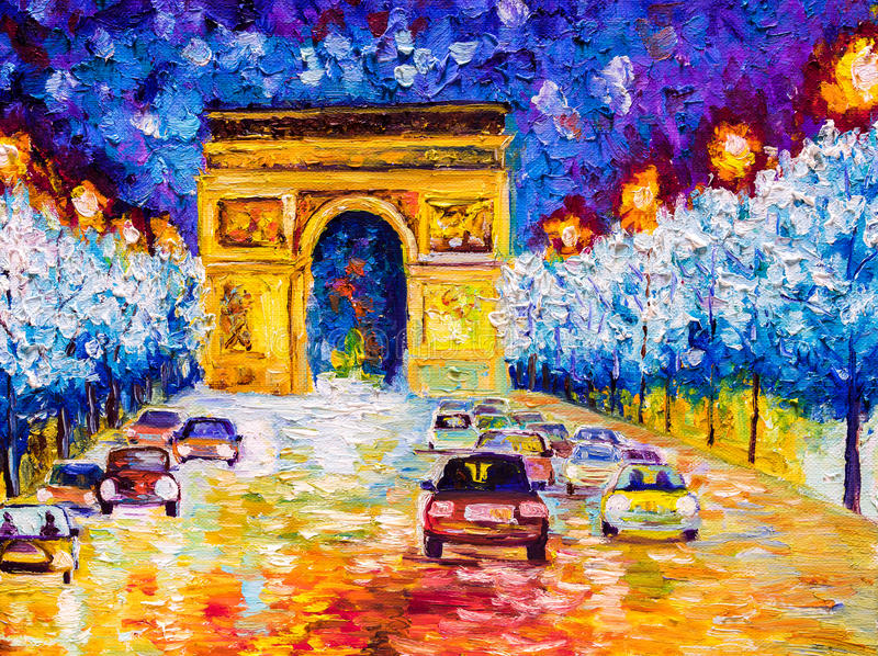 Oil Painting - Arc de triomphe, Paris. Oil Painting of Arc de triomphe, Paris royalty free illustration