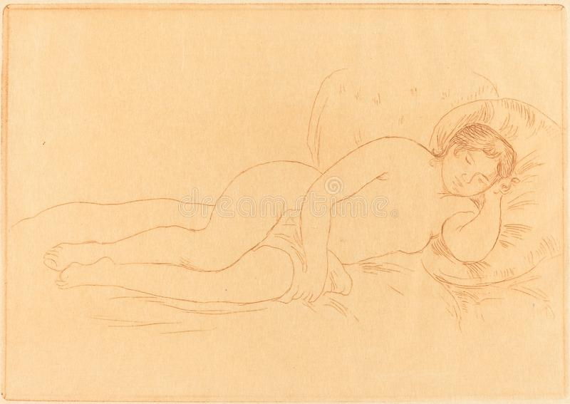 Auguste Renoir - Female Nude Reclining royalty free stock images