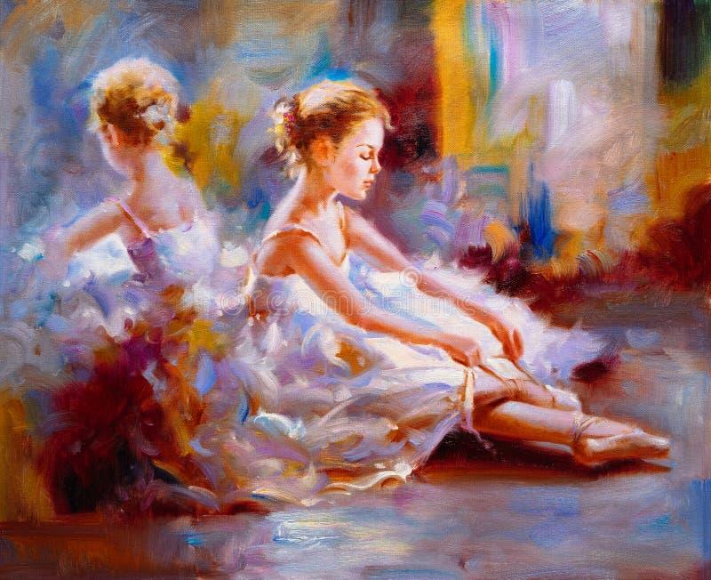 Oil Painting - Ballet stock illustration