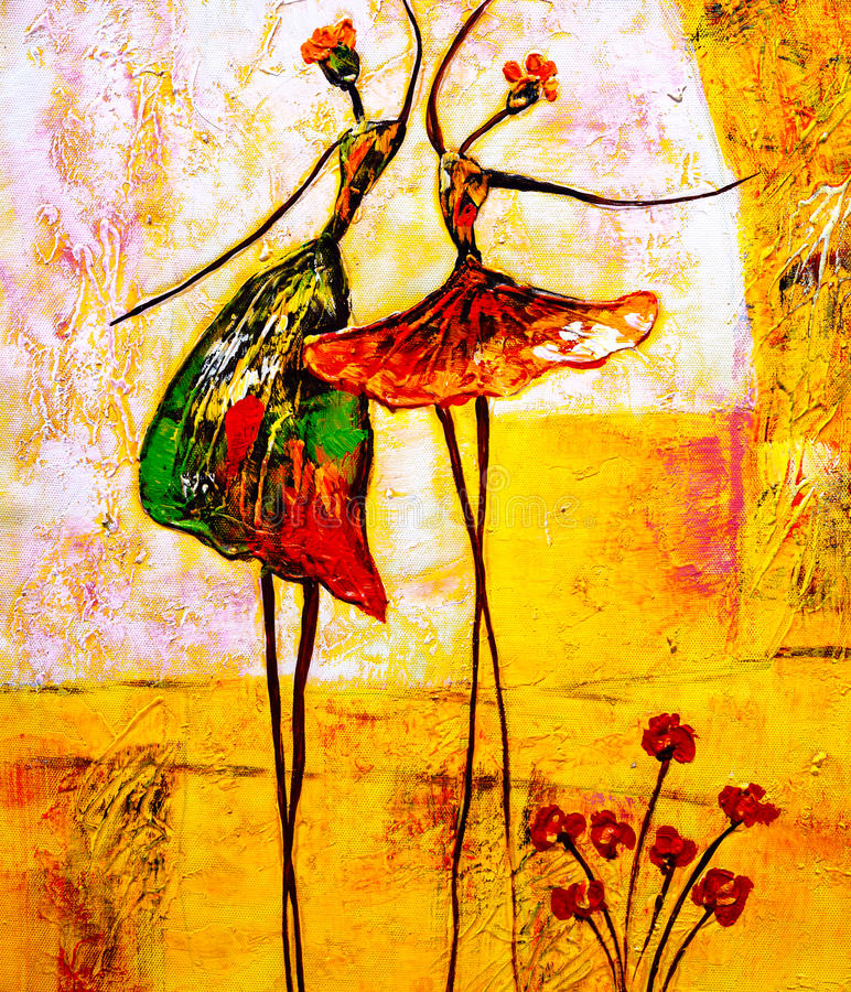 Oil Painting - Ballet. Oil Painting about the ballet dancer stock illustration
