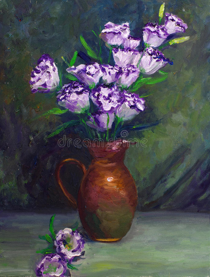 Oil-Painting - Balloon Flower royalty free stock photos