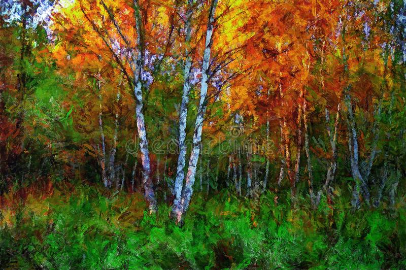 oil painting birch in the middle of  grass in autumn royalty free illustration