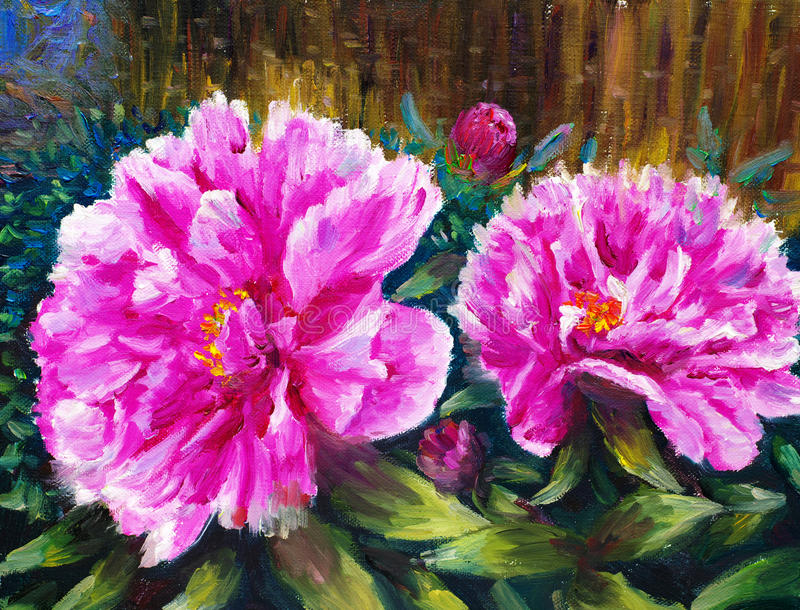 Download Oil Painting - Blooming Peony Stock Illustration - Image: 22098239