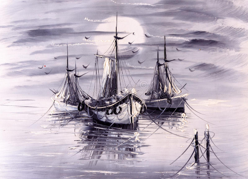 Oil Painting - Boat royalty free illustration