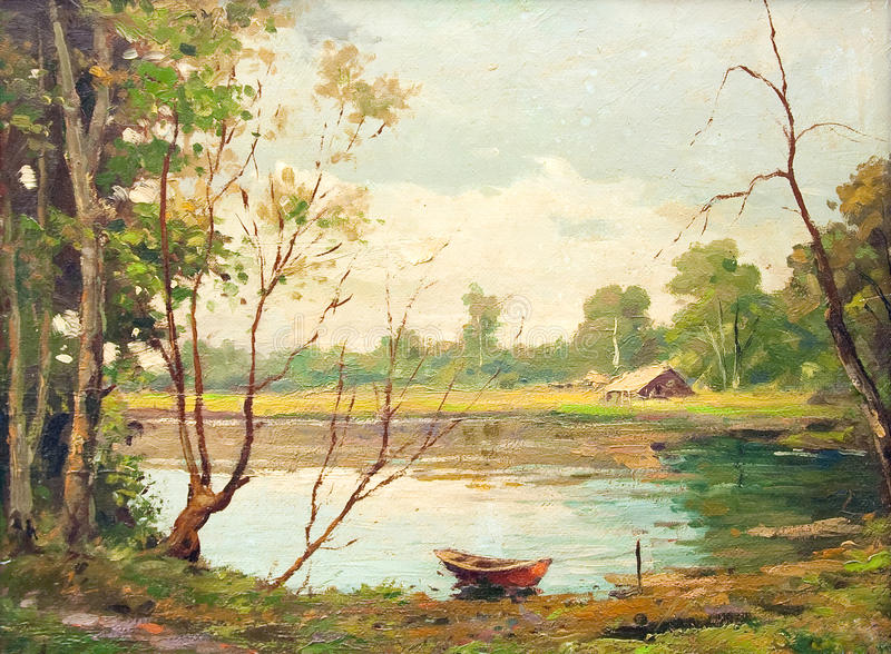 Download Oil Painting - Boat On The Lake Stock Illustration - Illustration: 15231369