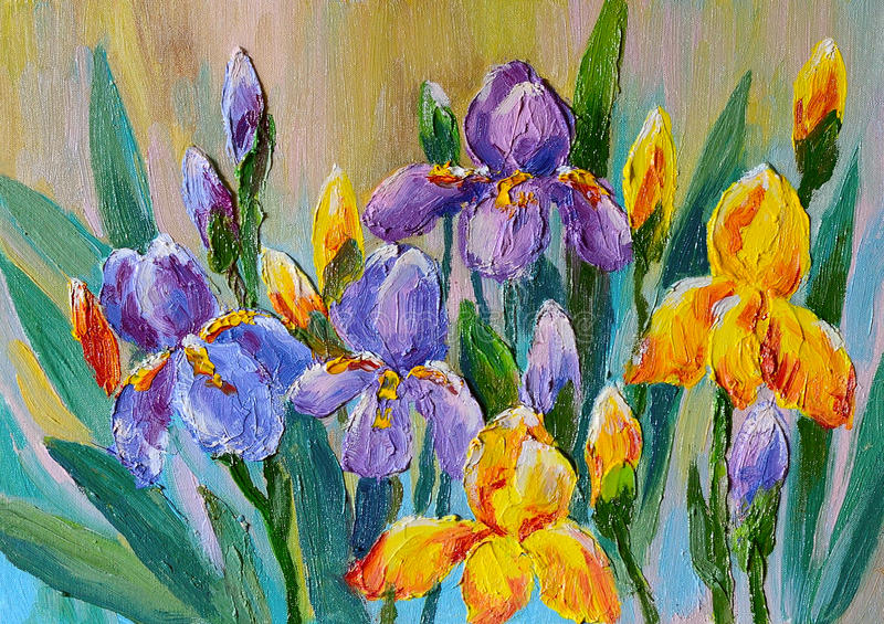 Oil Painting - bouquet of flowers irises stock illustration