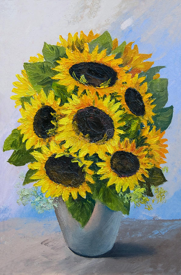 Oil Painting Bouquet Of Sunflowers In A Vase On An