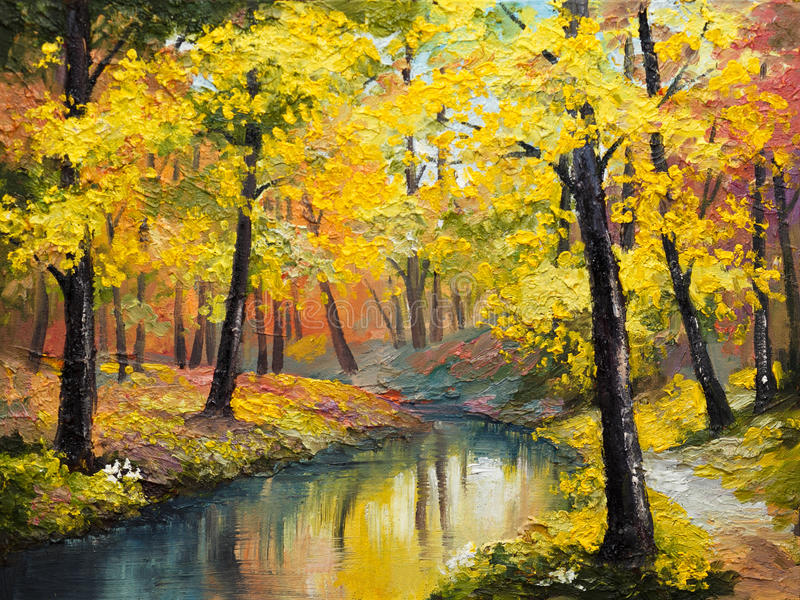Oil painting on canvas - autumn forest vector illustration