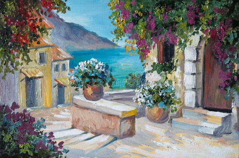 Oil painting on canvas - beautiful houses and stairs near the sea vector illustration