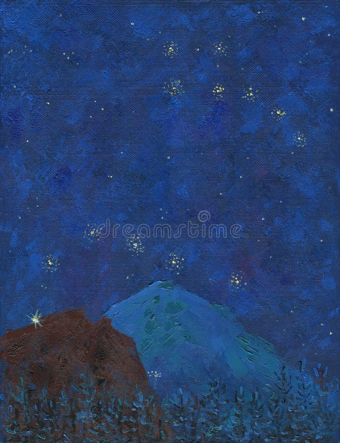Big snowy mountain with lights of mountaineers on a starry night stock photo