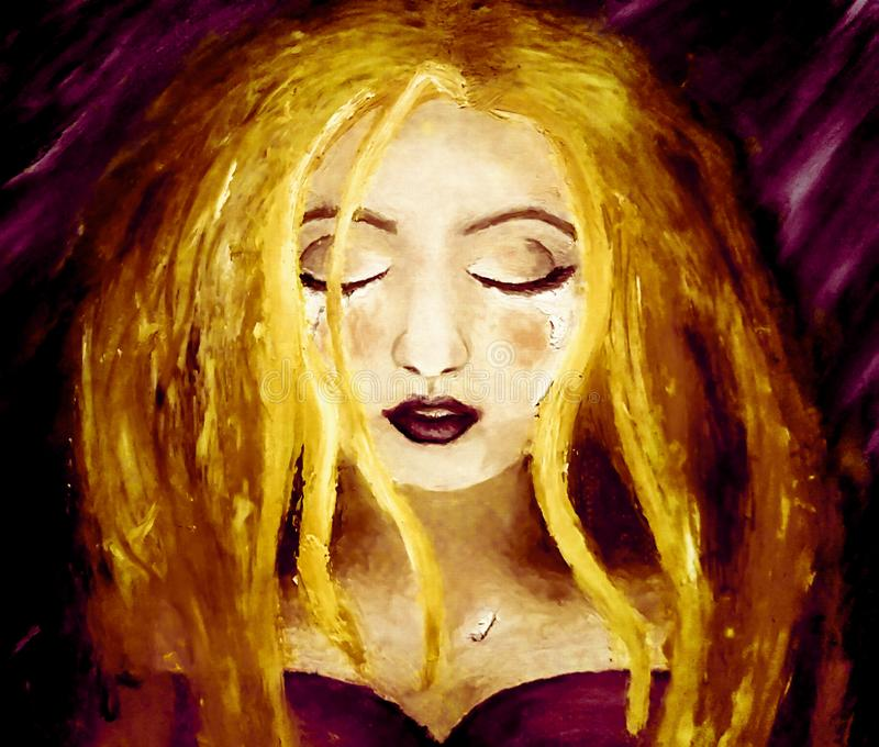 Oil painting on canvas of a blonde woman crying on a dark purple background stock illustration