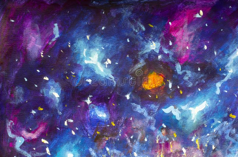 Oil painting on canvas. Blue-violet cosmos, the universe, star galaxies. Modern art. Hand-drawn art stock illustration