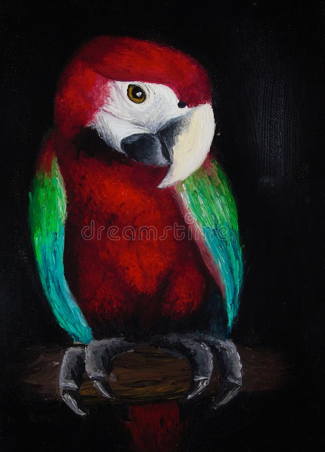 Oil painting on canvas of a colored parrot on a tree trunk, red bird isolated on black background. Oil painting of portrait of red parrot with green and blue vector illustration