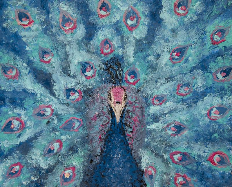 Oil painting on canvas of portrait of a blue and pink peacock, colored bird, fantasy. Artistic oil painting of closeup of a colored peacock, big blue and pink royalty free stock photo