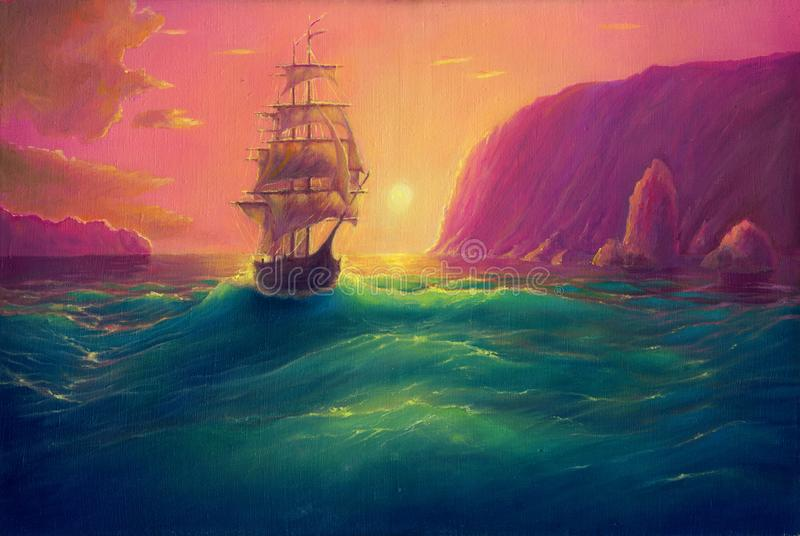 Oil painting on canvas, sea landscape background with ship, vessel in ocean drawing, its art hand drawn by oil royalty free illustration