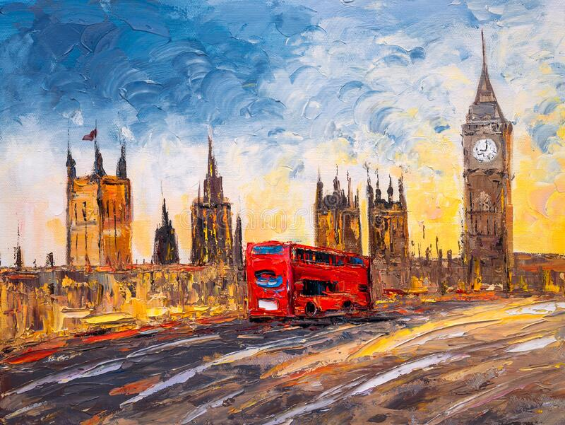 Oil Painting - City View of London royalty free stock photos