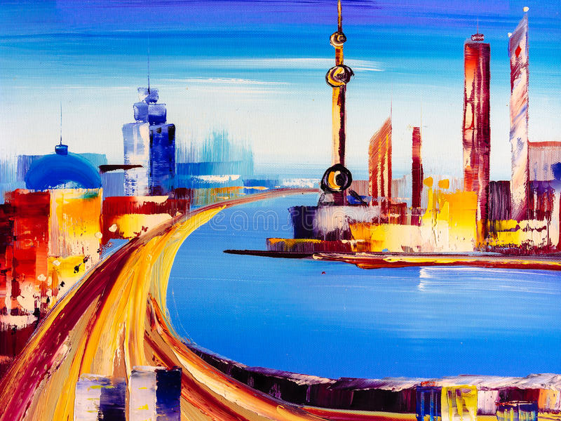 Oil Painting - City View of Shanghai vector illustration