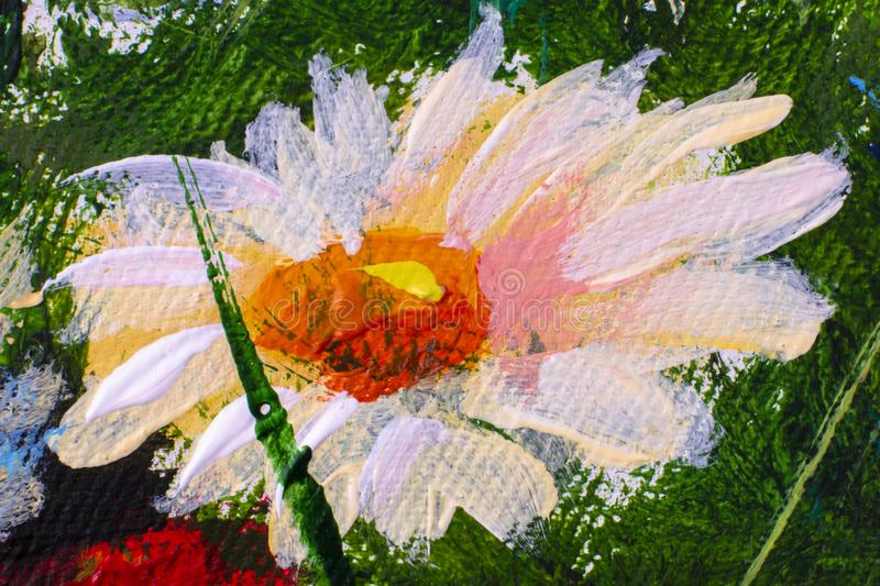 Hand drawn oil painting. Abstract art background. Oil painting on canvas. Color texture. Fragment of artwork. Spots of paint. Oil painting close-up flower. Big royalty free stock photo