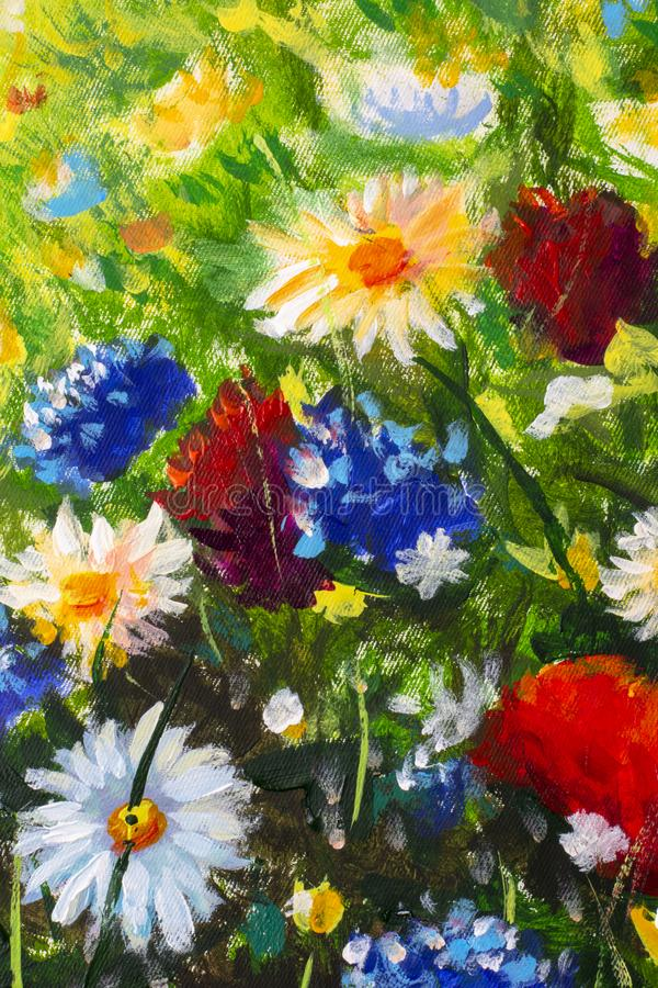 Oil painting close-up flower. Big flowers closeup macro on canvas. Modern Impressionism. Impasto artwork. Oil painting close-up flower. Big flowers closeup royalty free stock image