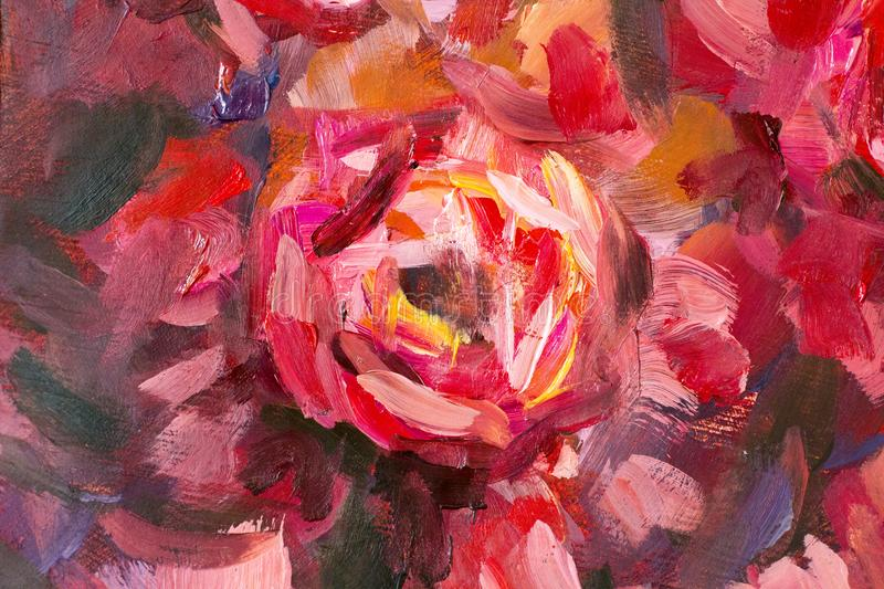 Oil painting close-up flower. Big red violet flowers rose peony closeup macro on canvas. royalty free illustration