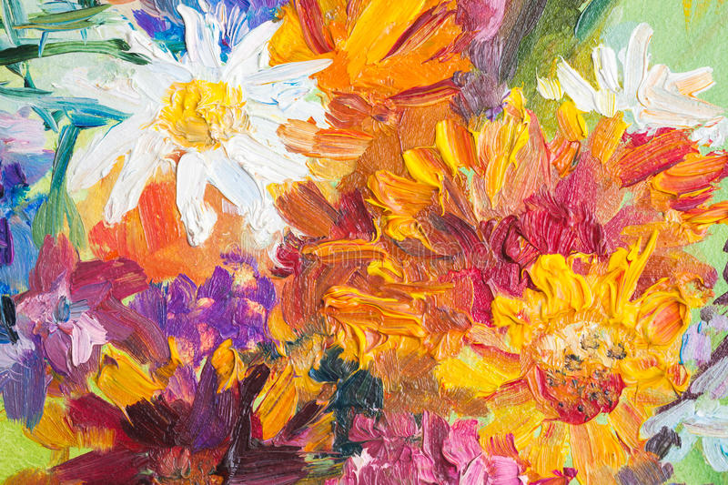 Oil painting, closeup fragment. Colorful bouquet stock illustration