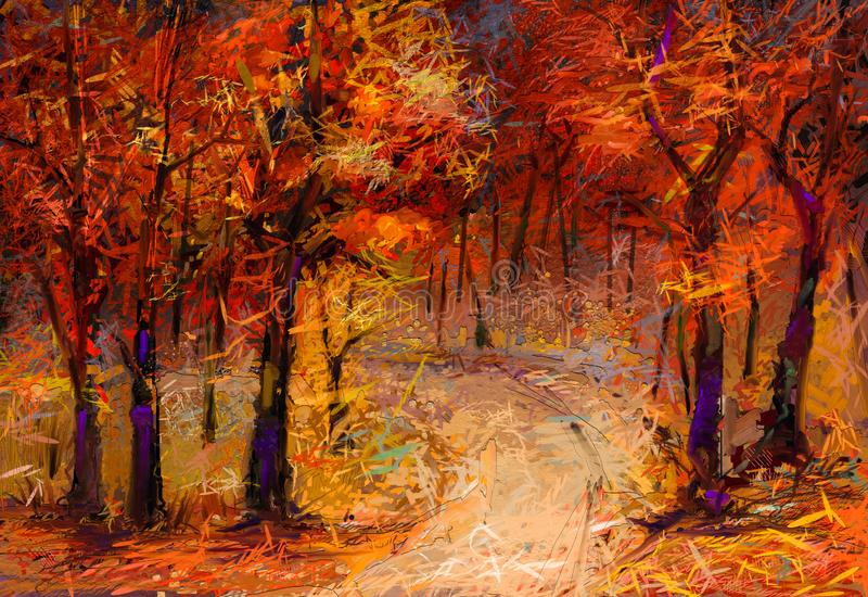 Fall season nature background. Hand Painted Impressionist, outdoor landscape. Oil painting colorful autumn trees. Semi abstract image of forest, aspen trees with vector illustration