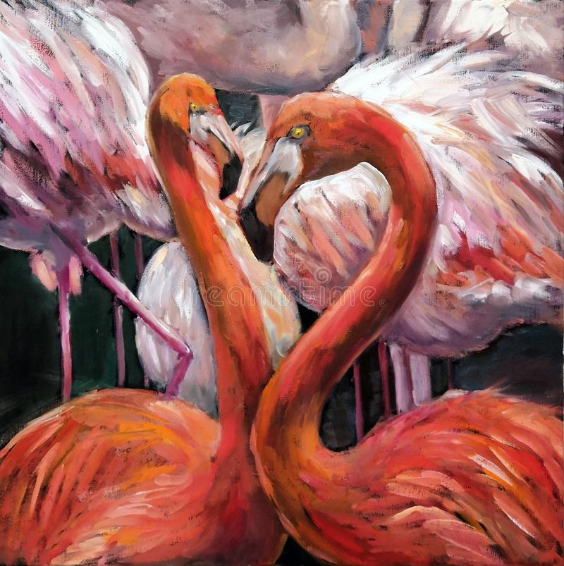Oil painting couple of pink flamingos on dark background. Original impressionism oil picture on canvas of beautiful tropical birds stock illustration