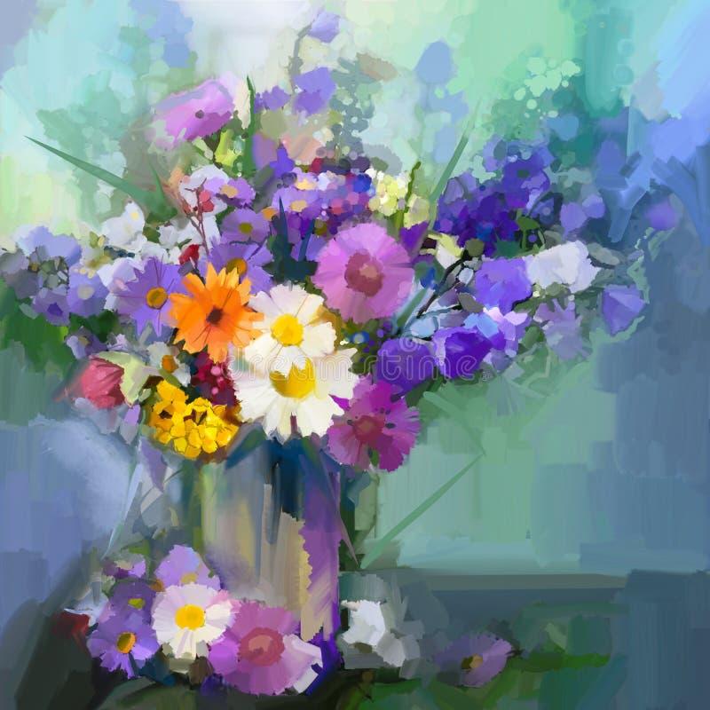 Oil painting daisy flowers in vase. vector illustration
