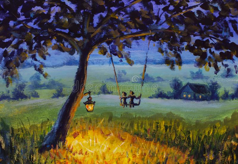 Oil painting Evening rustic landscape, a lantern hanging on a tree, a guy with a girl in love ride on a swing. Green meadows, a li. Painting Evening rustic stock illustration