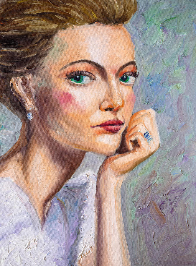 Oil Painting - Fashion Lady royalty free illustration