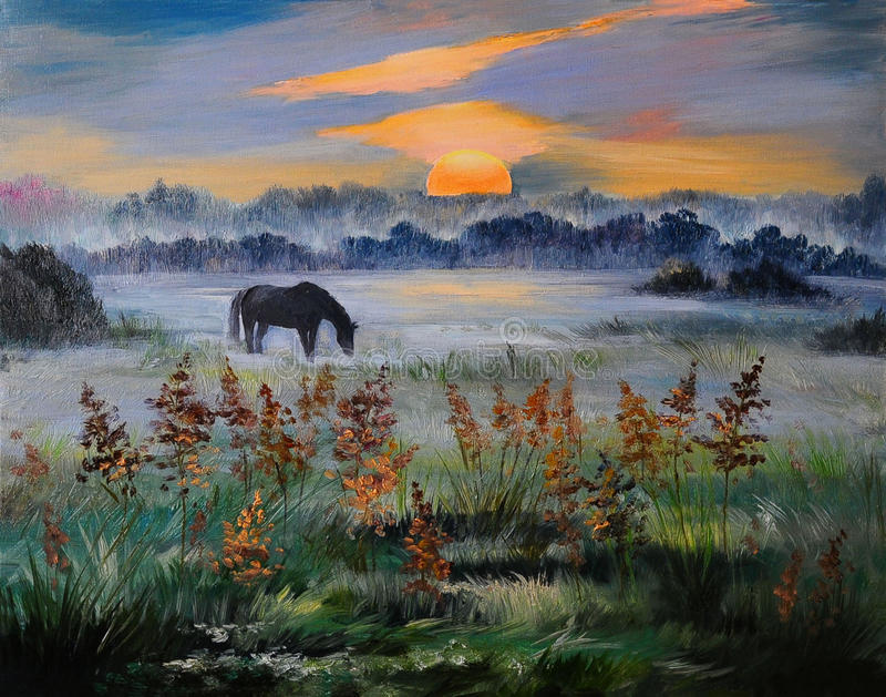 Oil painting of field at sunset, art work royalty free stock photo