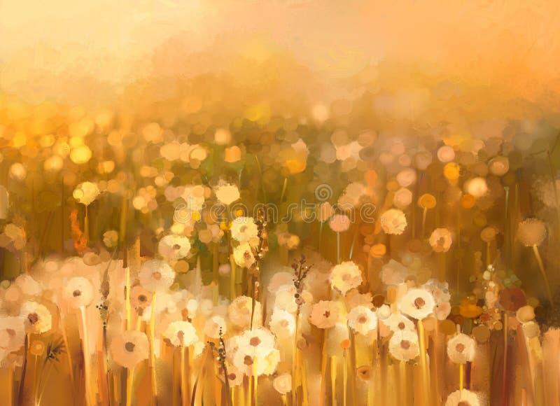 Oil painting of flowers plant. Dandelion flower in fields. Meadow landscape with wildflower. vector illustration