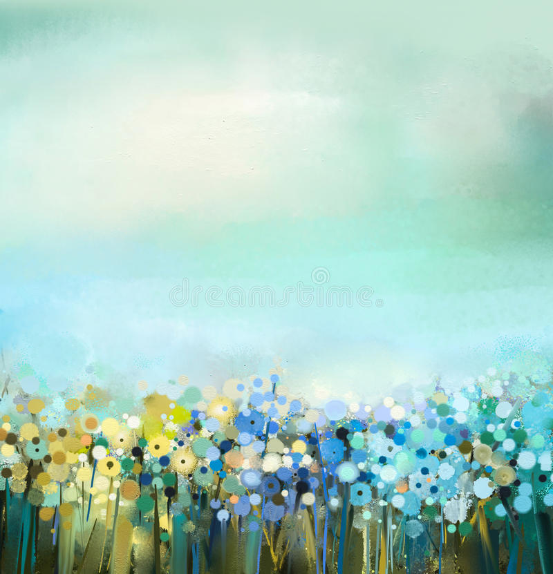 Oil painting of flowers plant. Dandelion flower in fields. Meadow landscape with wildflower. Abstract art oil painting of flowers plant. Dandelion flower in royalty free illustration