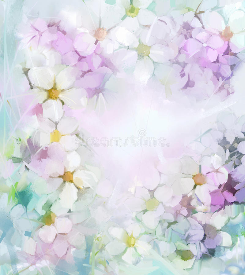 Oil painting white sakura, cherry blossom flowers in soft color and blur style for background stock illustration