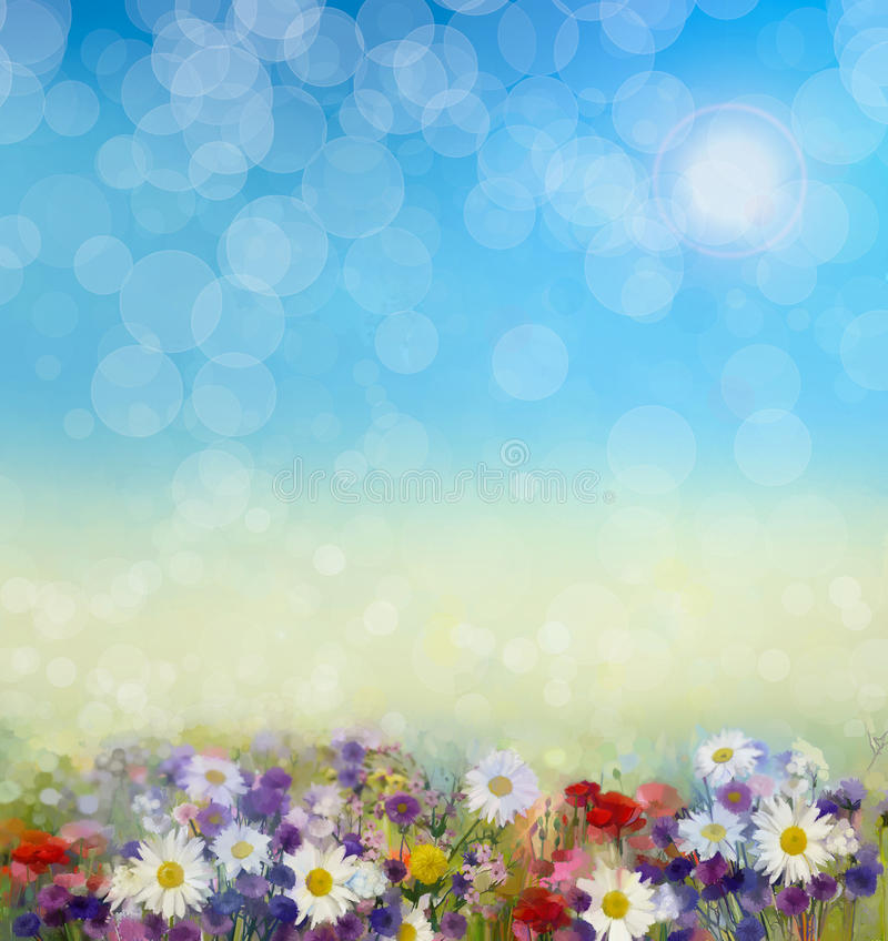 Oil painting flowers in soft color and blur style vector illustration