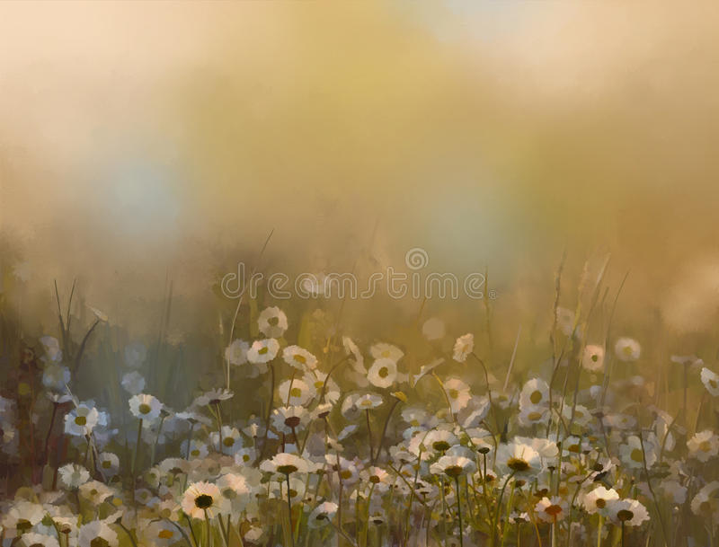 Oil painting flowers, Vintage white daisy flowers in the meadows. stock photo
