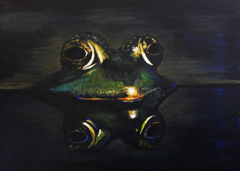 Frog half in the water with reflection of the animal below oil painting vector illustration
