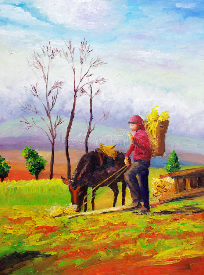 Oil Painting - Grazing Horse Stock Photography