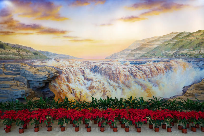 Oil painting hall. The Yellow River Hukou Waterfall oil painting is in hall of Shanxi Geological Museum in Taiyuan, Shanxi, China stock images