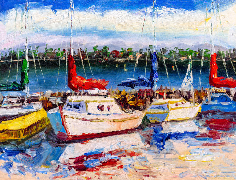 Oil Painting - Harbor View royalty free stock photography