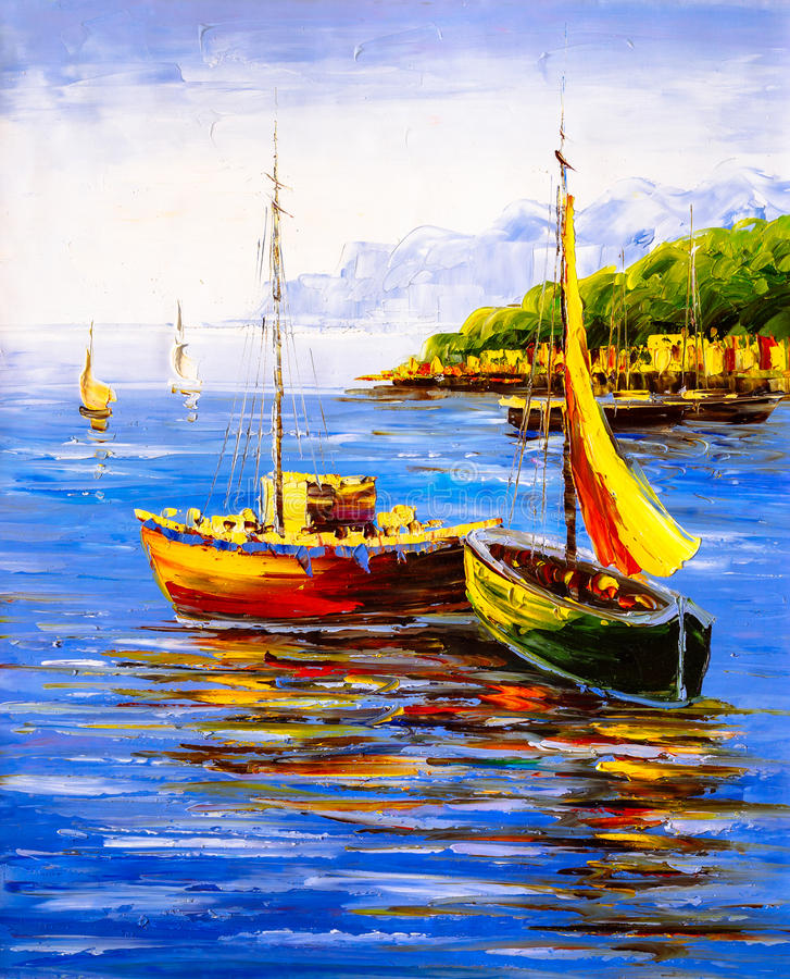 Oil Painting - Harbor View royalty free stock image