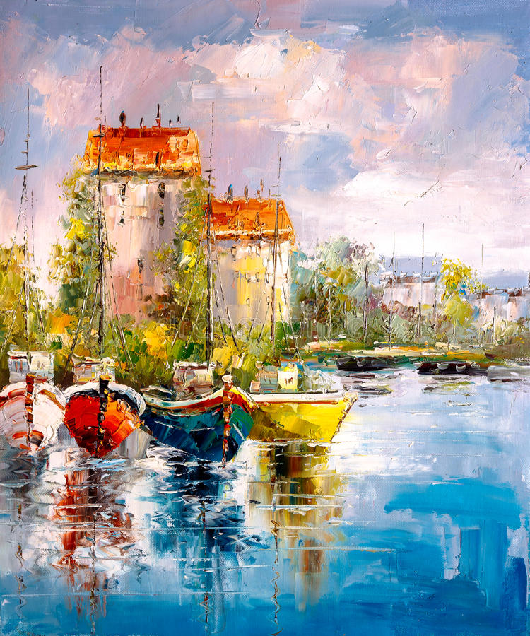 Oil Painting - Harbor View stock image