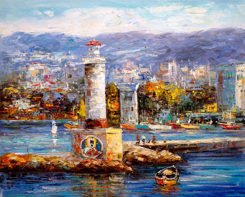Oil Painting - Harbor View vector illustration
