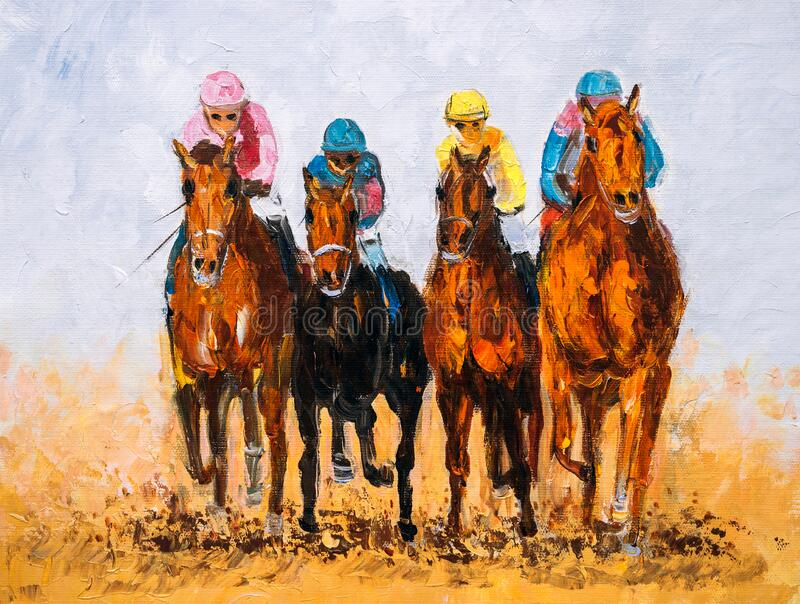 Oil Painting - Horse Racing stock images