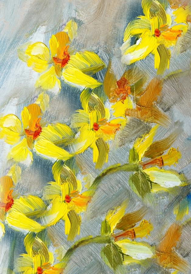 Texture Of Oil Paintings, Flowers, Painting Fragment Of