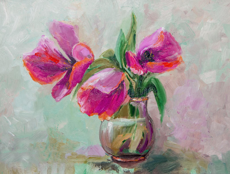Oil Painting, Impressionism style, texture painting, flower still life painting art painted color image, tulips. Oil Painting, Impressionism style, texture stock photo